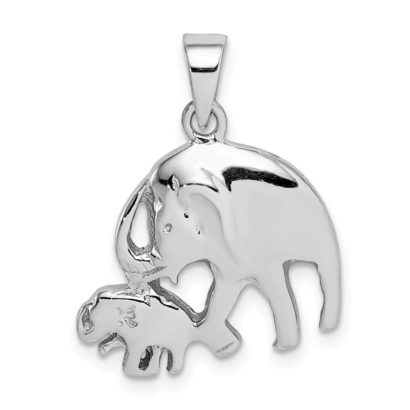 Quality Gold Sterling Silver Rhodium-plated Elephants Pendant