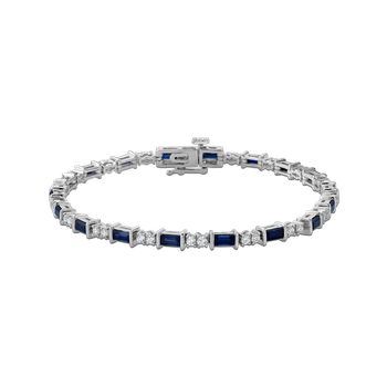 Alternating 1 1/4 ct Diamond + 3 5/8 Ct Sapphire Sterling Silver Bracelet
