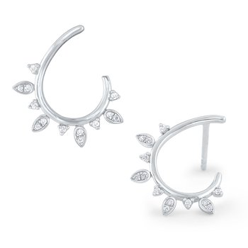14k Gold and Diamond Laurel Arc Earrings