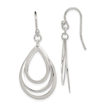 Sterling Silver Polished Teardrops Dangle Earrings