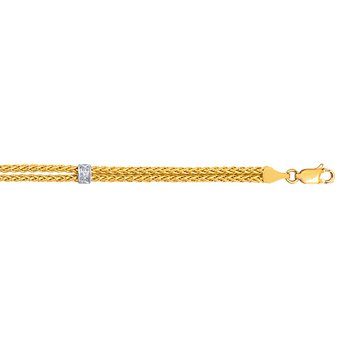 14K Gold .03ct Diamond Station Wheat Chain Bracelet