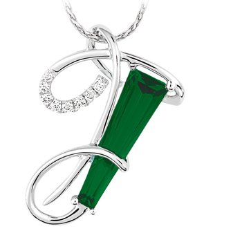 Initial Pendant - Chatham Created Emerald