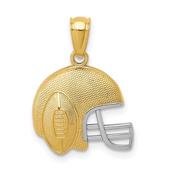 14K w/Rhodium Satin/Polished Football Helmet Pendant