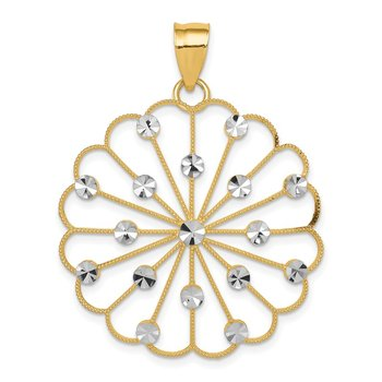 14k & Rhodium Fancy Pendant