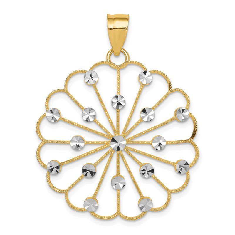 Quality Gold 14k & Rhodium Fancy Pendant