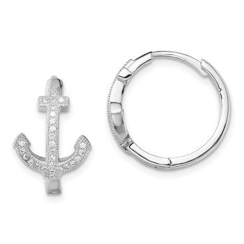 Sterling Silver Rhodium-plated CZ Anchor Hinged Earrings
