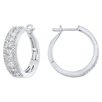 3 Row Channel Set Diamond Earrings in 14K White Gold (1 ct. tw.)