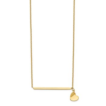 14k Polished Heart w/ 2in ext. Necklace