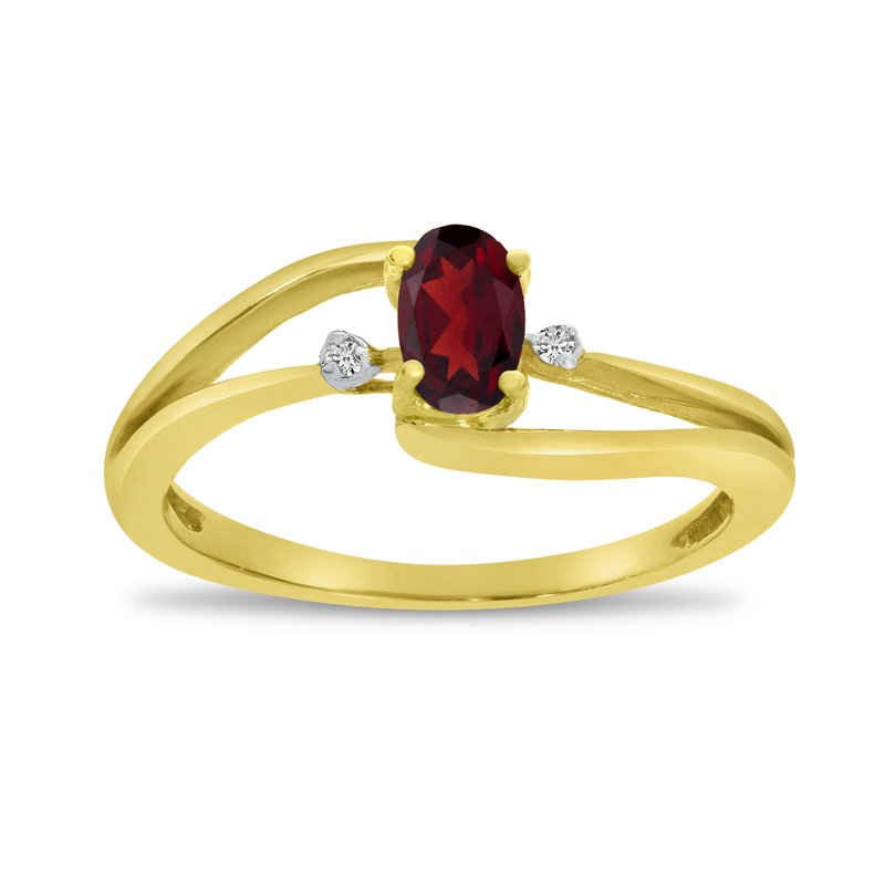 Color Merchants 14k Yellow Gold Oval Garnet And Diamond Wave Ring