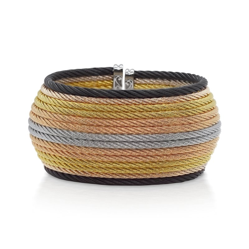 ALOR Multi-Colored Cable Oversized Cuff with 18kt Yellow Gold