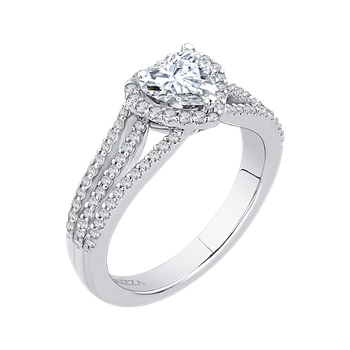 18K White Gold Heart Diamond Halo Engagement Ring with Split Shank (Semi-Mount)