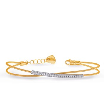 White & Yellow Gold Bangle Italian Made