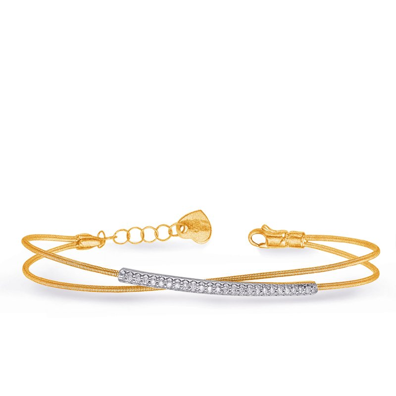 Briana White & Yellow Gold Bangle Italian Made