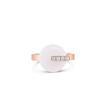 18KT GOLD DISC RING WITH DIAMONDS AND WHITE JADE