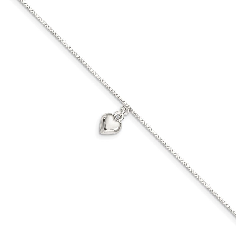 J.F. Kruse Signature Collection Sterling Silver 10inch Polished Puffed Heart Anklet