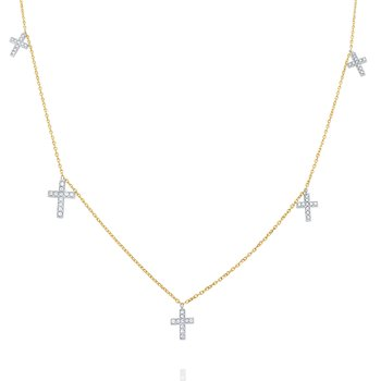 14k Gold and Diamond Cross Charms Necklace