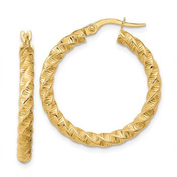 14k Gold Polished 3mm Twisted Hoop Earrings