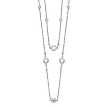 Sterling Silver Rhodium-plated CZ/Beaded 2-strand w/1in Ext. Necklace