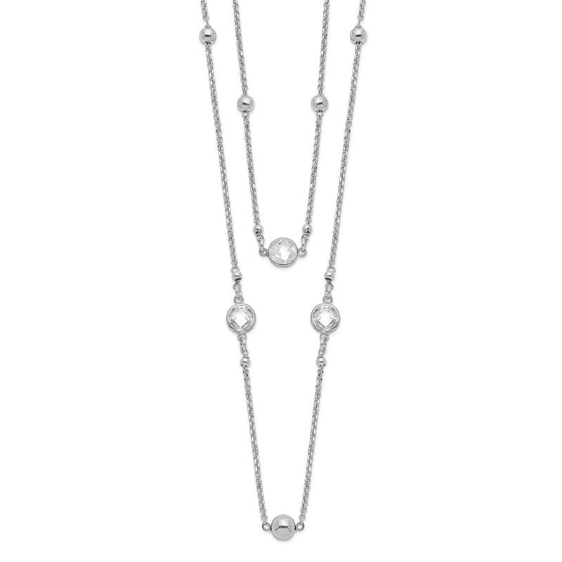Quality Gold Sterling Silver Rhodium-plated CZ 2-strand w/1in Ext. Necklace