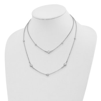 Sterling Silver Rhodium-plated CZ 2-strand w/1in Ext. Necklace