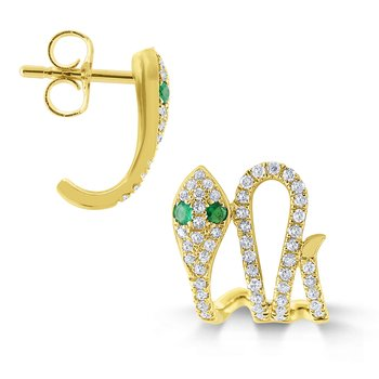 14k Gold, Diamond and Emerald Snake Earrings