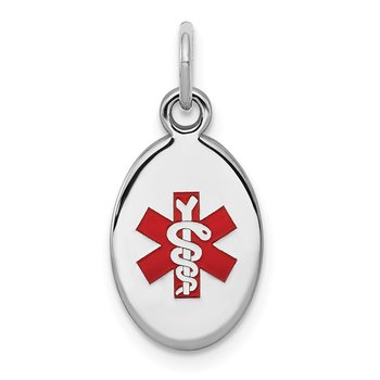 Sterling Silver Rhodium-plated Medical Jewelry Charm