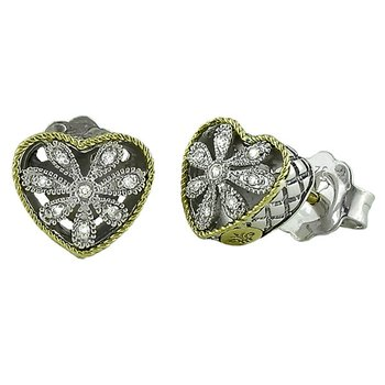 18kt and Sterling Silver Heart Antique Flower Diamond Stud Earrings