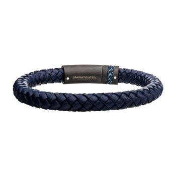 Blue Genuine Leather with Brushed Finish Steel & Black Plated Bracelet