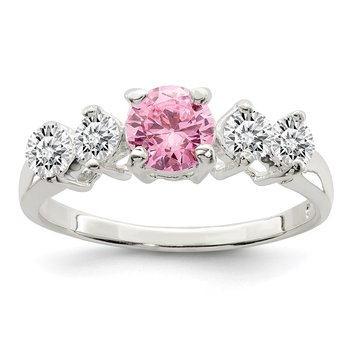 Sterling Silver Pink Round CZ w/Side Stones Ring