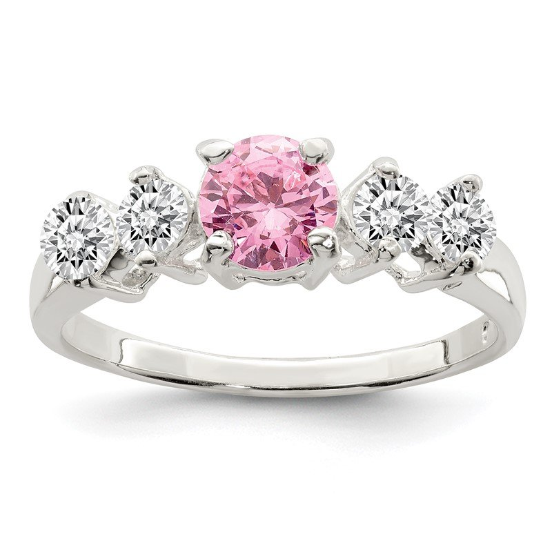 Quality Gold Sterling Silver Pink Round CZ w/Side Stones Ring