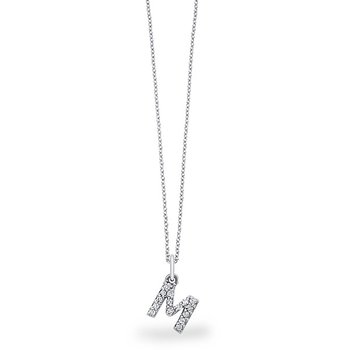 "Diamond Baby Block Initial ""M"" Necklace in 14k White Gold with 15 Diamonds weighing .12ct tw."