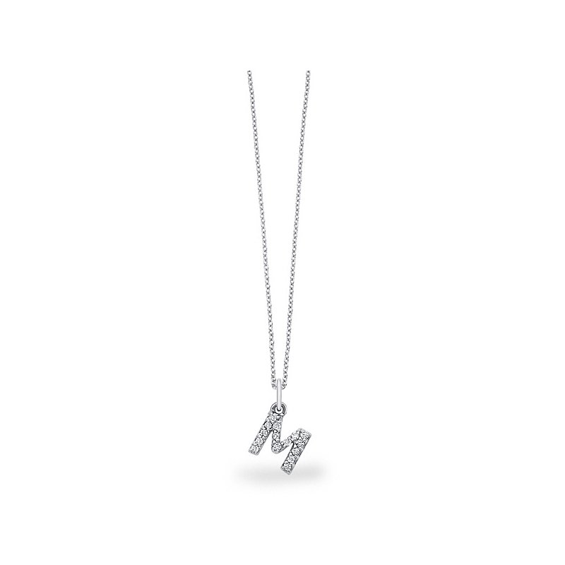 "KC Designs Diamond Baby Block Initial ""M"" Necklace in 14k White Gold with 15 Diamonds weighing .12ct tw."