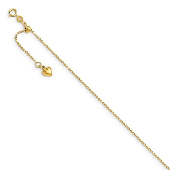 Leslie's 14k Polished Dangle Heart Adjustable Anklet