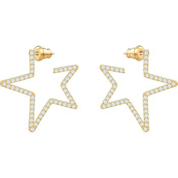 Only Pierced Earrings, White, Gold-tone plated