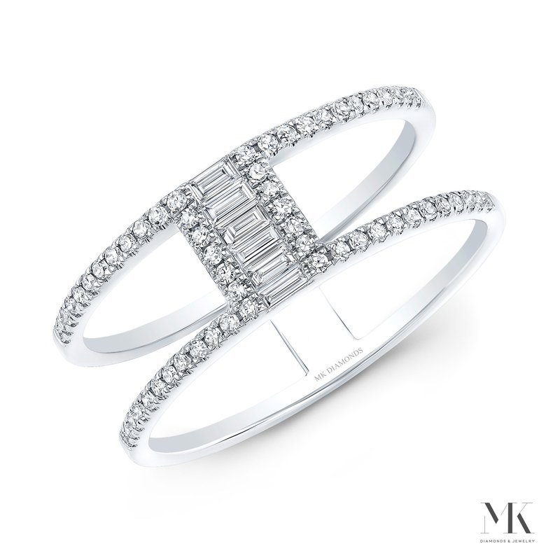 Robert Palma Designs White Gold Two Row Baguette Ring