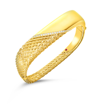 #28472 Of 18Kt Gold Hinged Bangle With Diamonds