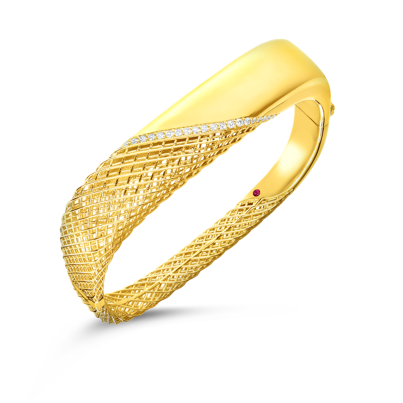 Roberto Coin 18KT GOLD SQUARE BANGLE WITH DIAMONDS
