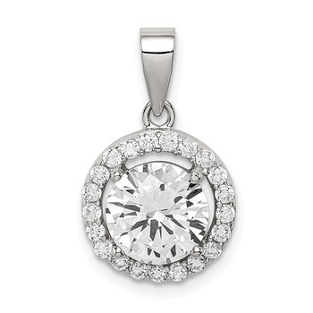Sterling Silver Rhodium-plated Polished CZ Halo Pendant