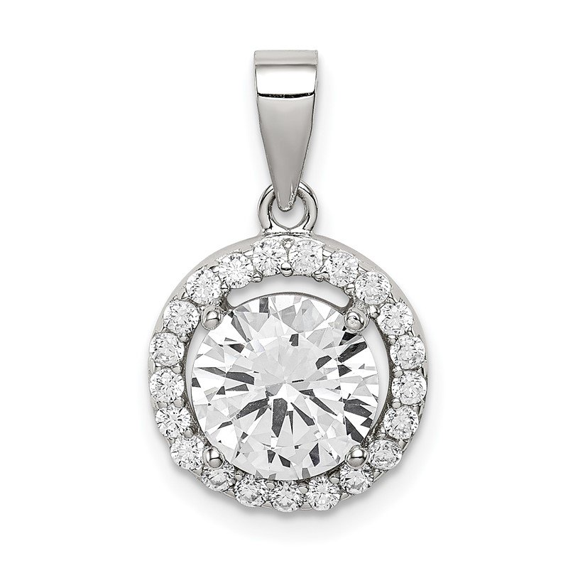 Quality Gold Sterling Silver Rhodium-plated Polished CZ Halo Pendant