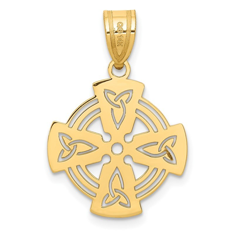 Quality Gold 14k Laser Cut Celtic Cross Charm