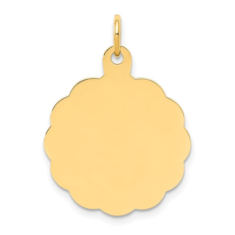 Quality Gold 14k .013 Gauge Engravable Scalloped Disc Charm