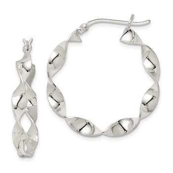 Sterling Silver Twisted 4x30mm Hoop Earrings
