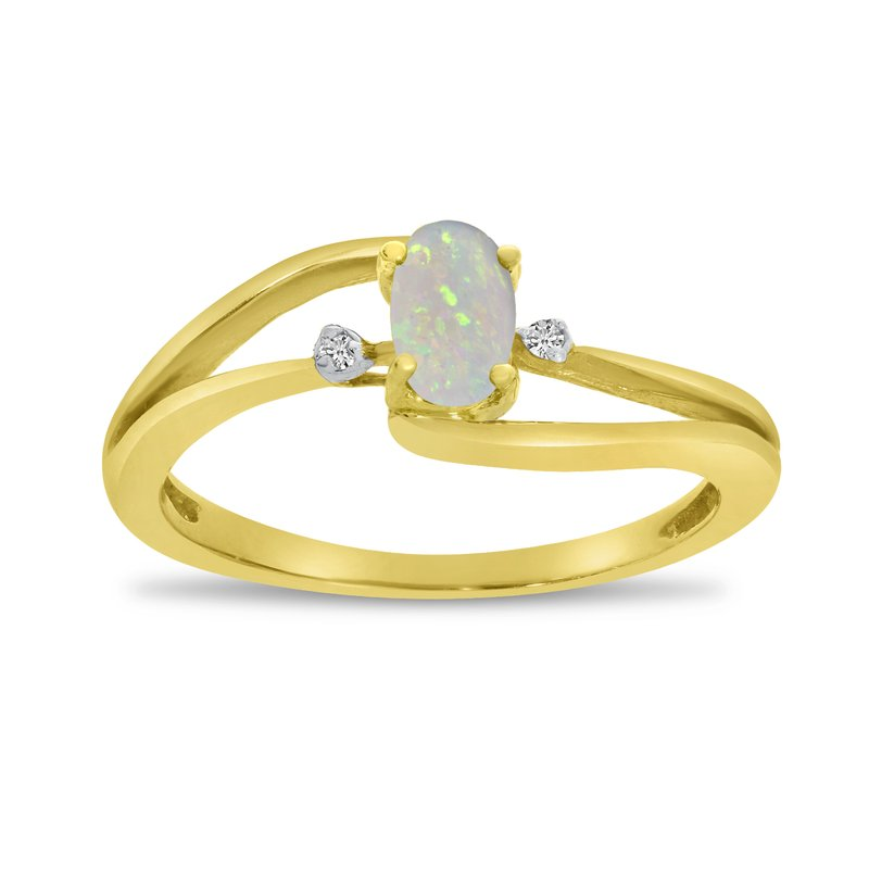 10k Yellow Gold Oval Opal And Diamond Wave Ring