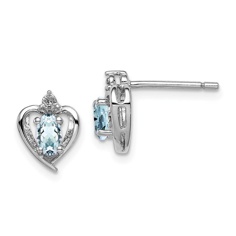 Arizona Diamond Center Collection Sterling Silver Rhodium-plated Aquamarine & Diam. Earrings
