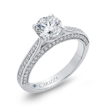 18K White Gold Round Diamond Floral Engagement Ring (Semi-Mount)