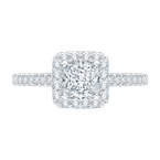 Promezza Princess Cut Diamond Halo Engagement Ring with 14K White Gold