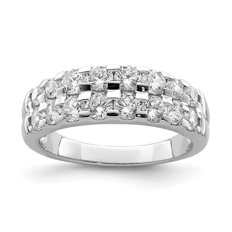 Quality Gold Sterling Silver Rhodium-plated 2-Row CZ Ring