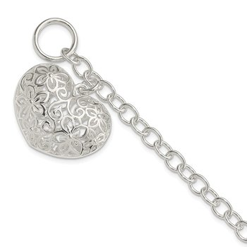 Sterling Silver Puffed Filigree Heart Toggle Bracelet
