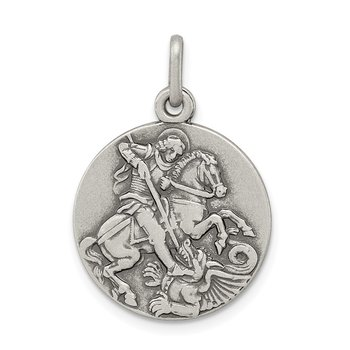 Sterling Silver Antiqued Saint George Medal