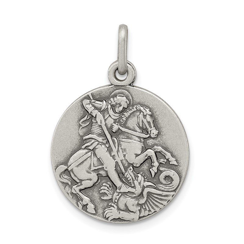 Quality Gold Sterling Silver Antiqued Saint George Medal